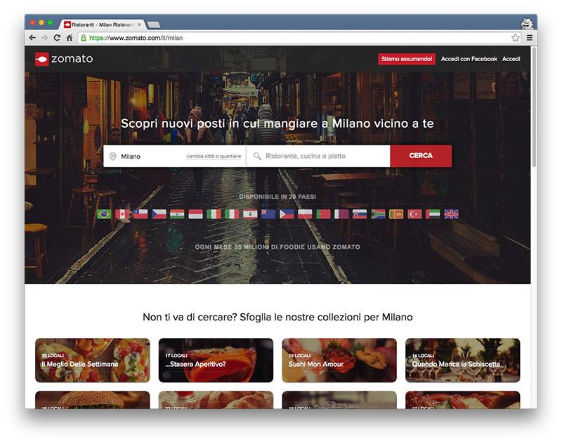 homepage Zomato