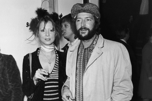 British musician Eric Clapton and his girlfriend Pattie Boyd attend the premiere of the rock opera 'Tommy' in London, 27th March 1975. (Photo by Central Press/Hulton Archive/Getty Images)
