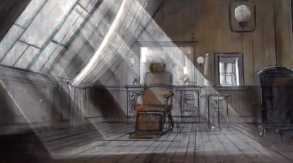 Bozzetto scenografico di Dante Ferretti per il film Hugo Cabret.