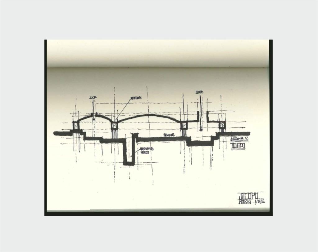 Progetto Museo Toledo, schizzo esplicativo, Jacopo Di Criscio