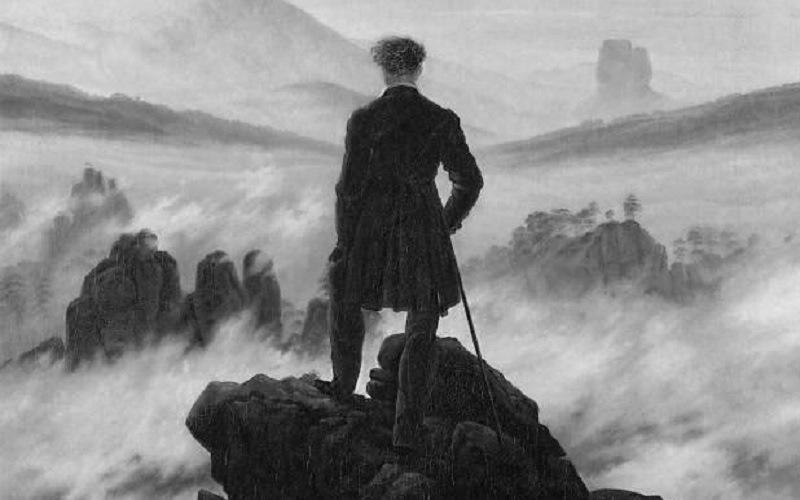 Bellezza dell'inquietitudine: Il viandante sul mare di nebbia, Caspar David Friedrich, olio su tela, 95x75cm, 1818, Hamburger Kunsthalle