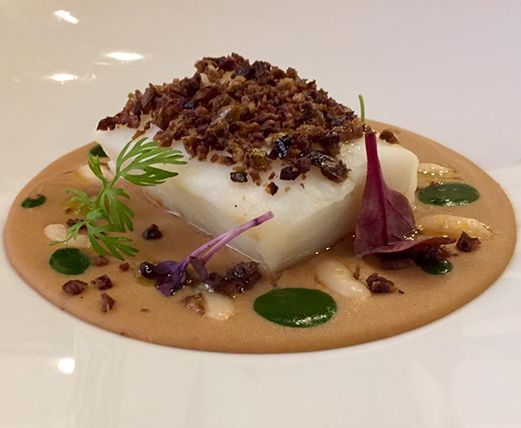 Osteria 140, Mussillo di Baccalà fagiolina di Arsoli, Crema di borlotti allo zenzero e polvere di olive