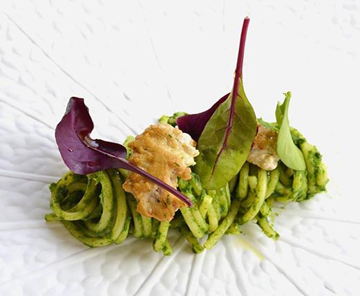 Livello1, Spaghettoni Felicetti con crema di broccoletti e salsiccia di Pesce Spada di Ponza