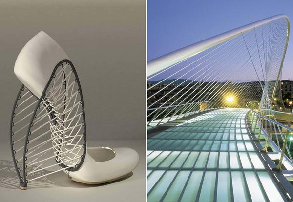 Scarpe di Marla Marchant e il Ponte Zubizuri di Santiago Calatrava a Bilbao