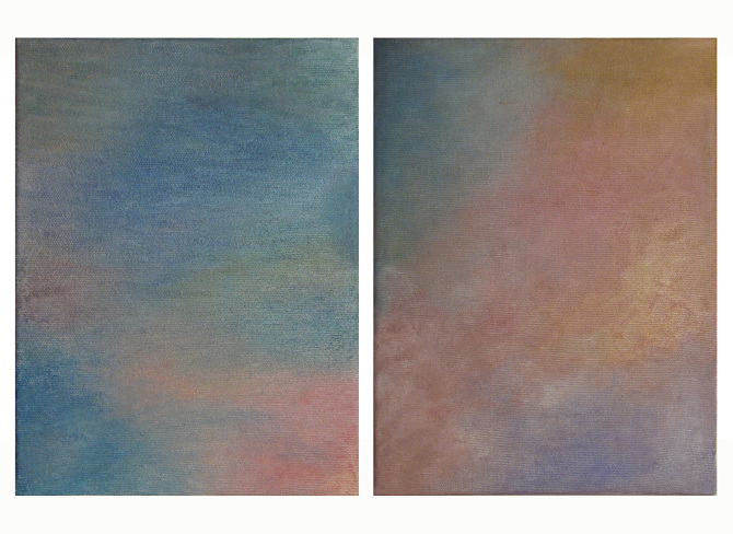 Trucco, 220 x 190 cm each, eyeshadow on cotton canvas, seven weeks, 2014