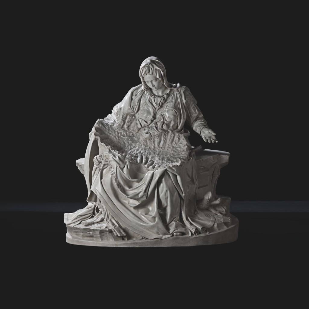 Fabio Viale, Pietà, 2017, marmo bianco, cm 174 x 165 x 89, courtesy Galleria Poggiali e Forconi