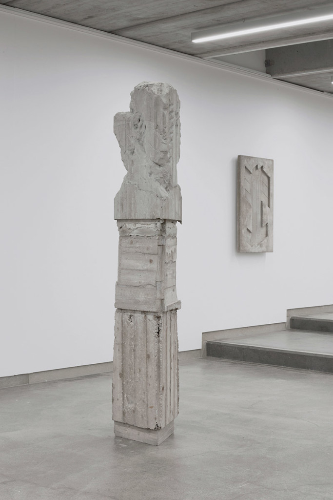 Luca Monterastelli, From left: Never Again, reinforced concrete, cm 240 x 50 x 50, 2017 Forging Fears: Fast Lines, Stripes Again and Whatever, reinforced concrete, cm 100 x 60 x 10, 2017, Courtesy the Artist