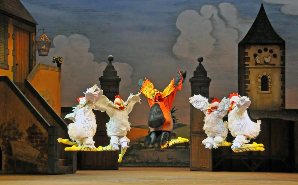 Chickens and Cockrel in La Fille mal gardee. © Dave Morgan
