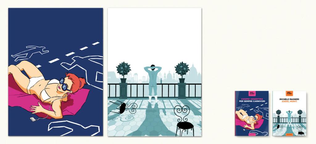 Copertine di Per sempre carnivori di Cosimo Argentina e Addio, Monti di Michele Masneri a cura di Riccardo Falcinelli