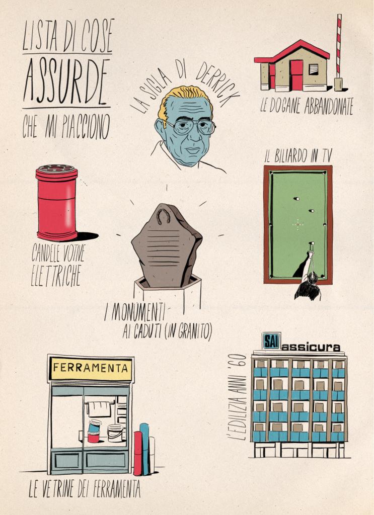 Illustrazione di Andrea Bozzo le lista delle cose assurde