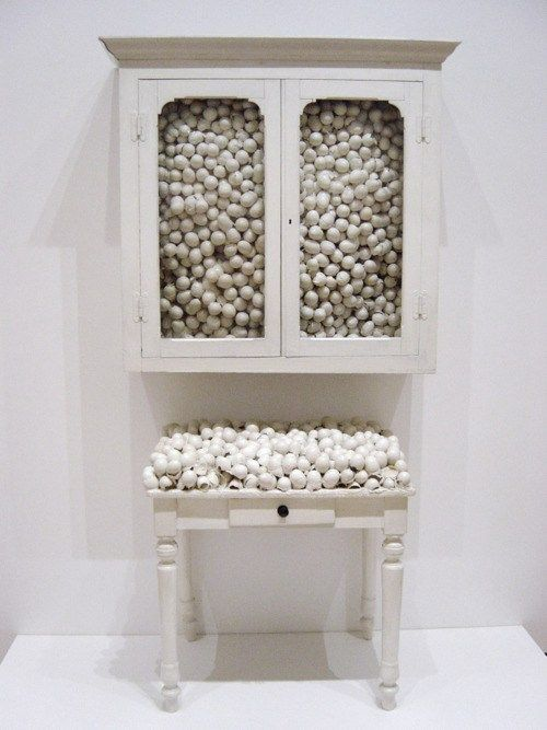 Marcel Broodthaers - White cabinet and white table