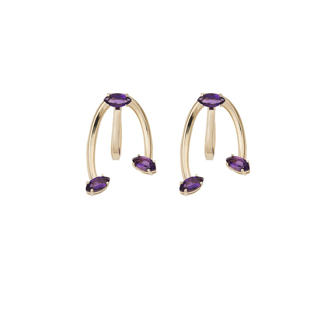 Honeysuckle Yellow Gold Earrings with Amethyst
