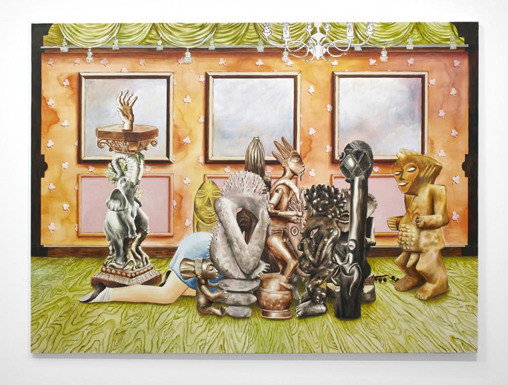Patrizio Di Massimo, The Lustful Turk (Bang Bang), 2013, olio su tela, 200 x 270 cm, courtesy T293 gallery