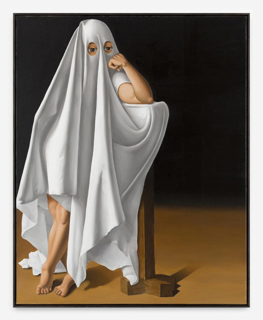 Patrizio Di Massimo, Self portrait as a ghost, 2017, olio su lino, 150 x 120 cm, courtesy T293 gallery