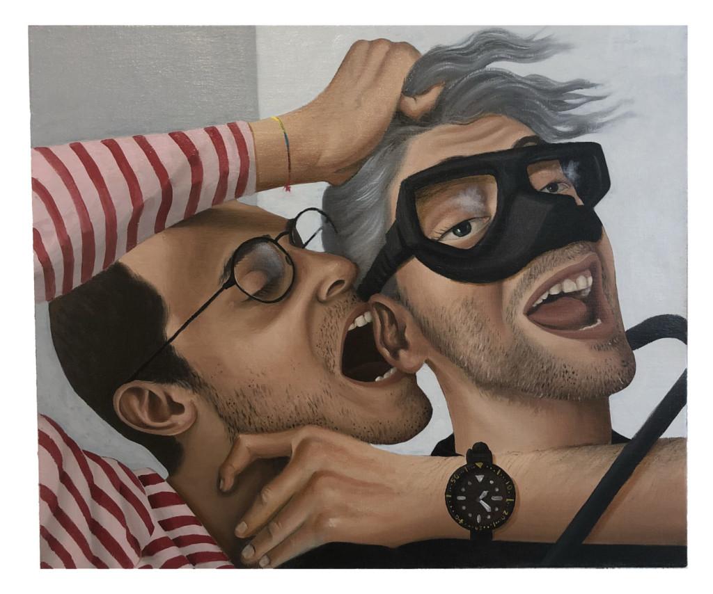 Patrizio Di Massimo, Do it again if you dare, you jerk!!!, 2018, olio su lino, 42 × 50 cm, courtesy T293 gallery