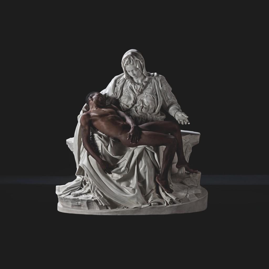 Fabio Viale, Pietà (with Lucky Ehi), 2017, marmo bianco e Lucky Ehi, cm 174 x 165 x 89, courtesy galleria Poggiali e Forconi
