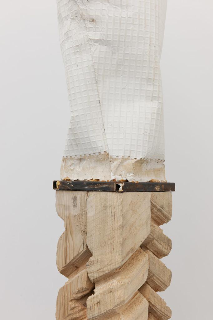 Luca Monterastelli, Of dead bodies' weight, reinforced plaster on wood; part I, cm 188 x 24 x 19, Courtesy Lia Rumma gallery, ph. Giusva Cennamo, 2013