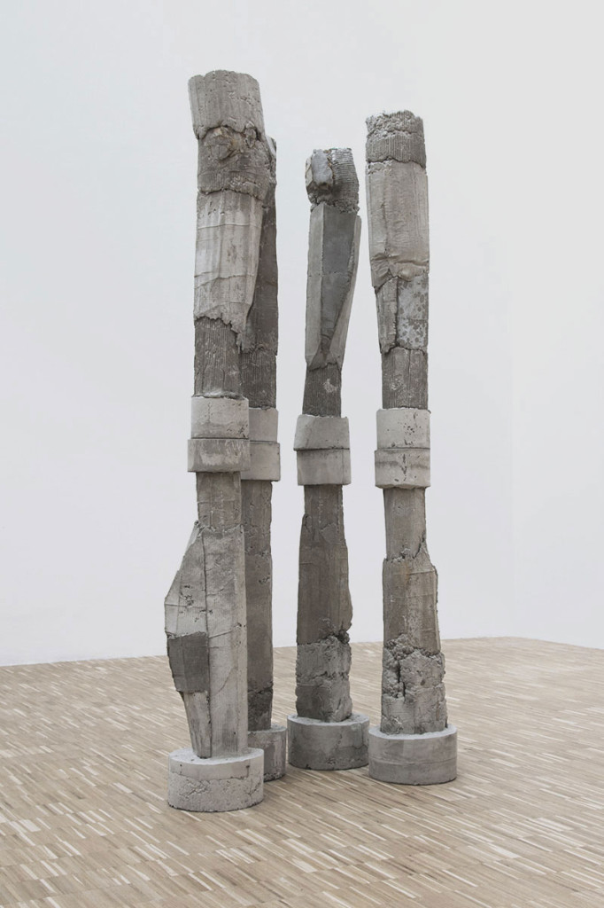 Luca Monterastelli, The amazing world of tomorrow or goodbye bad luck, reinforced concrete, cm 30 x 30 x 235 each, installation view at
